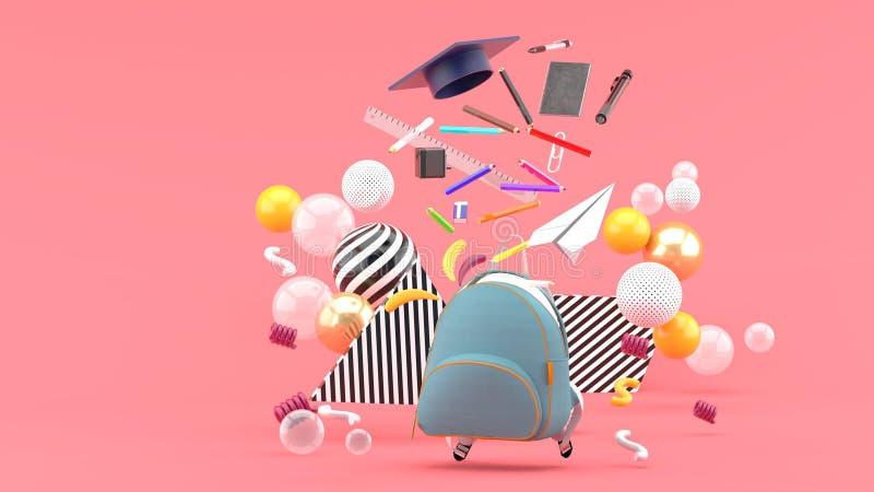 Skolatillförsel som svävar ut ur en skolapåse under färgrika bollar på en rosa bakgrund stock illustrationer