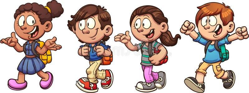 Skolaungar royaltyfri illustrationer