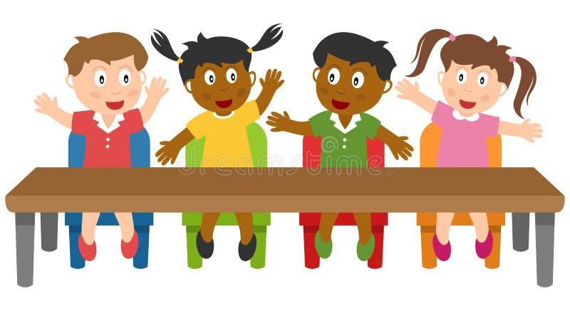 Skolaungar i klassrumet royaltyfri illustrationer