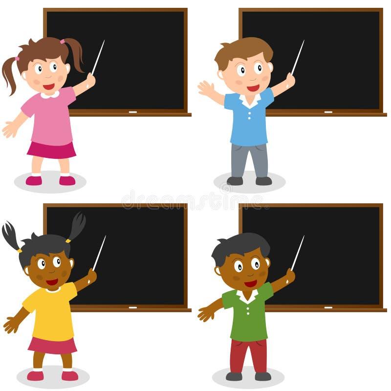 Skolaungar med blackboarden royaltyfri illustrationer