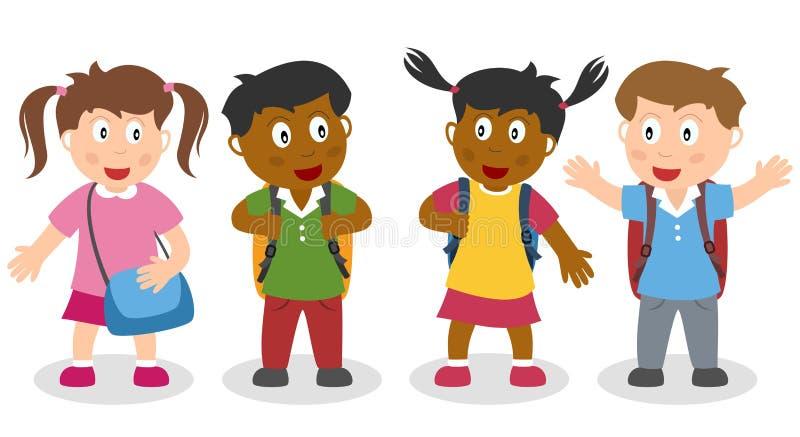 Skolaungar med Schoolbags vektor illustrationer
