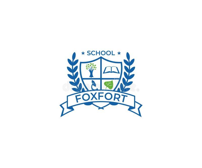 Skolavapen Logo Template Utbildningsvektordesign vektor illustrationer