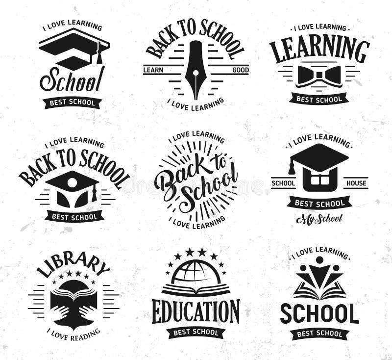 Skolavektorlogoer ställde in, monokromt tecken för tappningdesignutbildning Dra tillbaka till skolan, universitetet, högskolan so vektor illustrationer