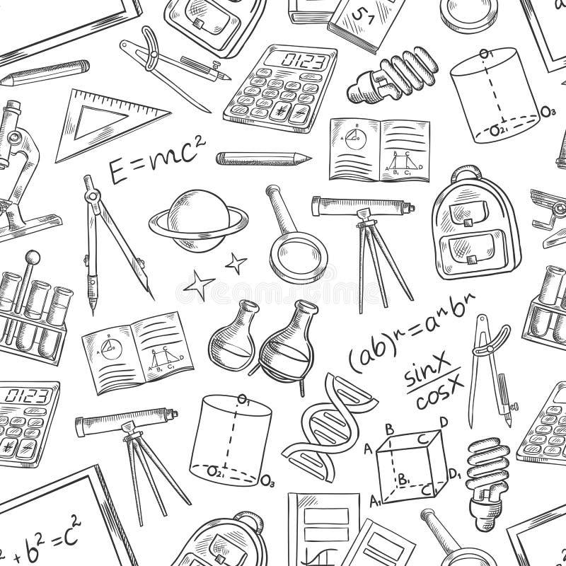 Skolavetenskapsvektorn skissar den sömlösa modellen stock illustrationer