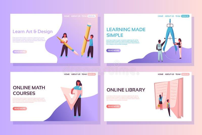 Skolawebbsidabegrepp Webbsidadesignmallar ställde in av att lära, online-utbildning, online-kurser, online-arkiv stock illustrationer