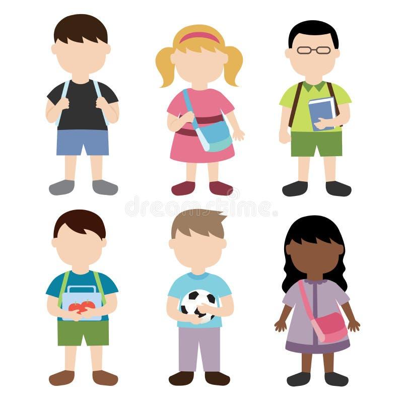 Skolbarn stock illustrationer