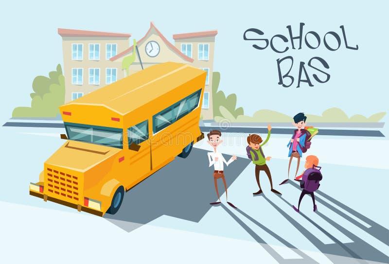 Skolbarn grupperar nära gul bussskolayttersida stock illustrationer