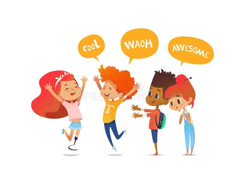 Skolbarn hälsar joyfully deras vän med benprotes Amputeradflickan är glad att möta hennes klasskompisar Begrepp av stock illustrationer