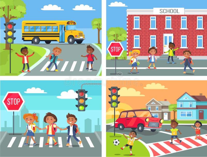 Skolbarn korsar vägen på övergångsställe royaltyfri illustrationer