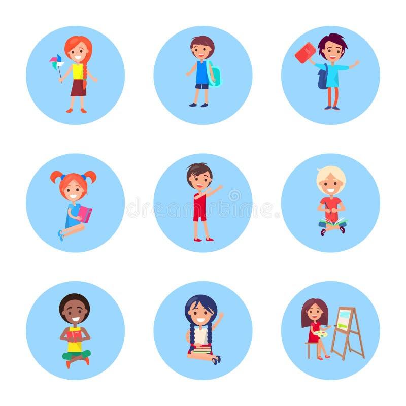 Skolbarn med tillbehör för att studera uppsättningen stock illustrationer