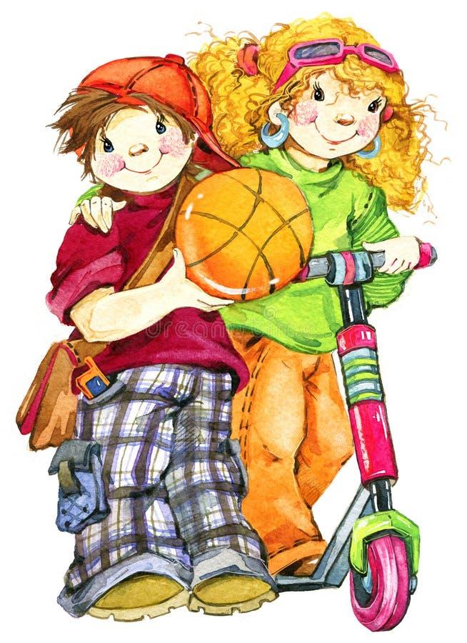 Skolbarn och tillbaka till skolabakgrund för berömvattenfärgillustration stock illustrationer