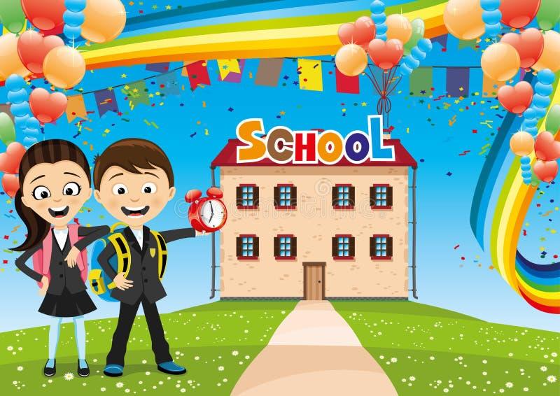 Skolbarn på deras väg till skolan stock illustrationer