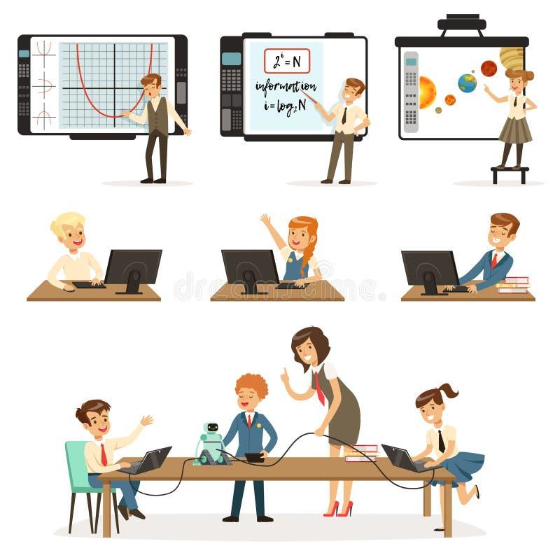 Skolbarn på informatiken och att programmera kursuppsättningen, ungar som arbetar på datorer som lär robotteknik och stock illustrationer
