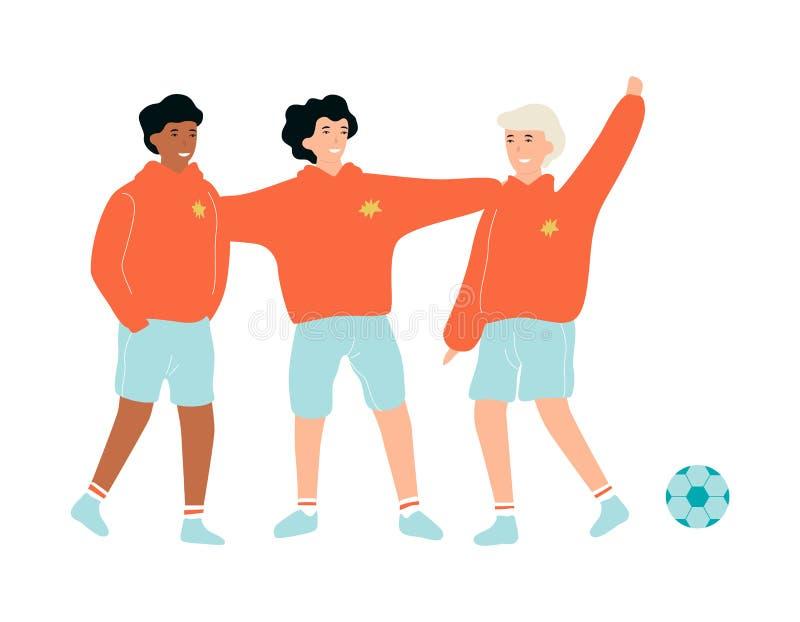 Skolbarn som står i sportlikformig Ung fotboll royaltyfri illustrationer
