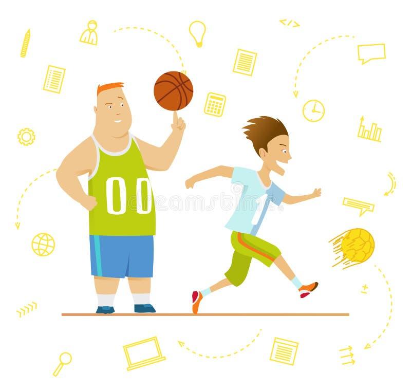 Skolbarn Sport för ungar inklusive fotboll, basket stock illustrationer