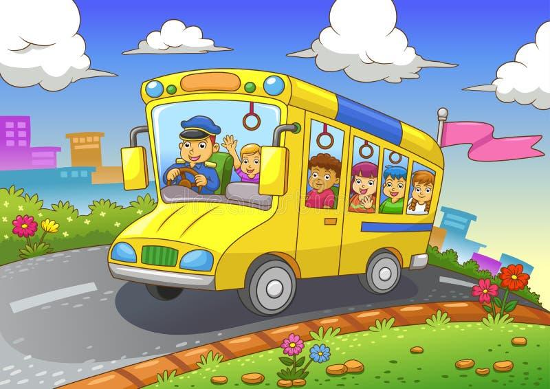 Skolbuss stock illustrationer
