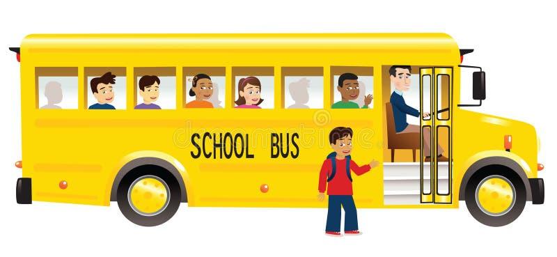 Skolbuss och barn vektor illustrationer