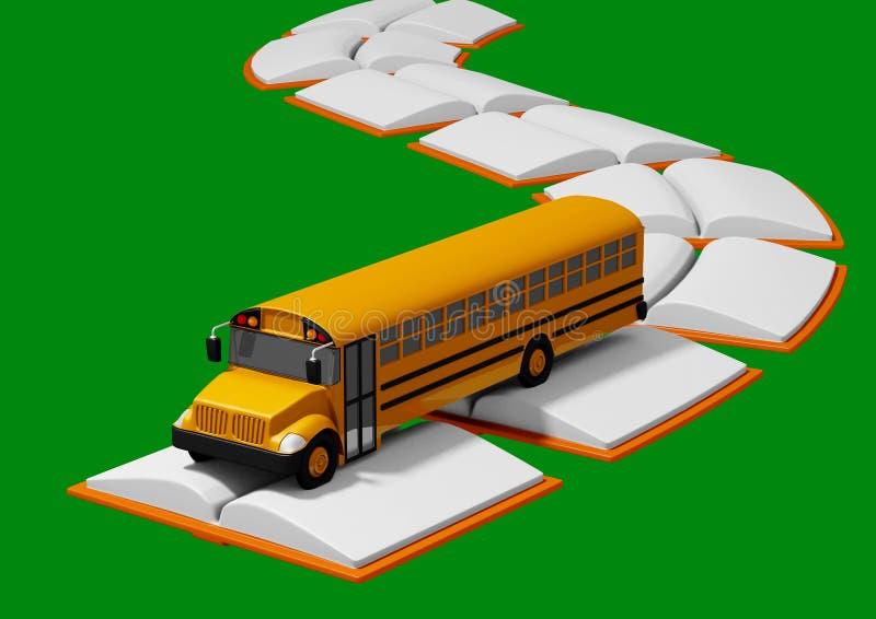Skolbuss som reser över vägen som byggs av böcker tillbaka begreppsskola till stock illustrationer