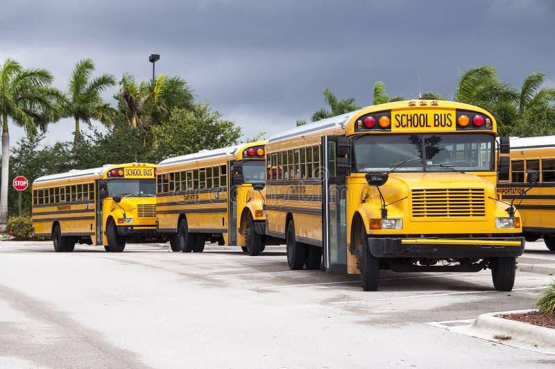 Skolbussar arkivfoto