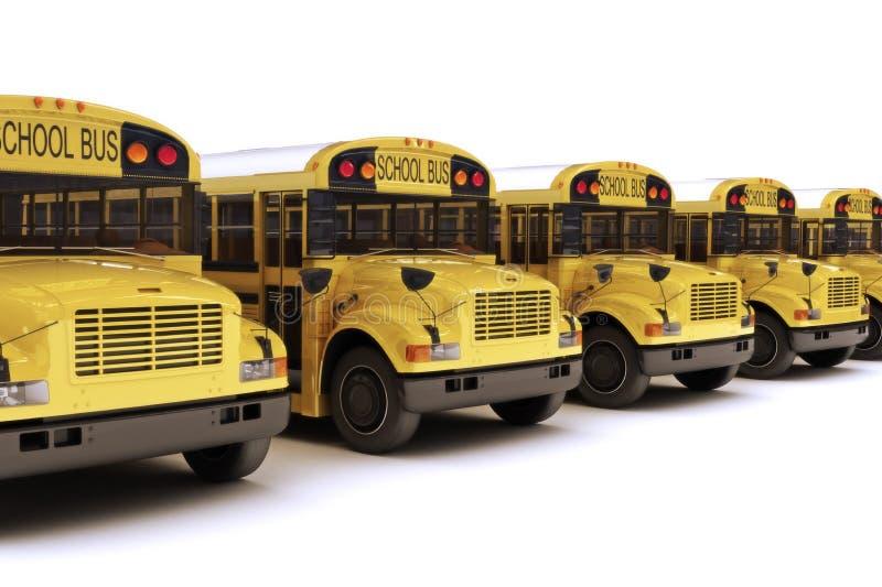Skolbussar med vit som är bästa i en ro vektor illustrationer