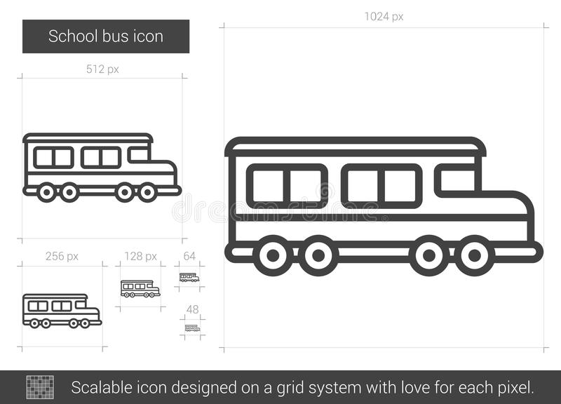 Skolbusslinje symbol stock illustrationer