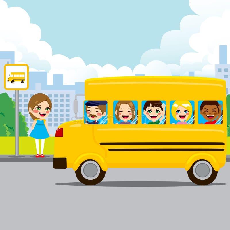 Skolbussstopp stock illustrationer