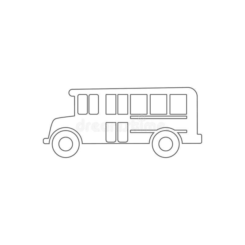 Skolbusssymbol Beståndsdel av utbildning för mobilt begrepp och rengöringsdukappssymbol Översikt tunn linje symbol för websitedes royaltyfri illustrationer