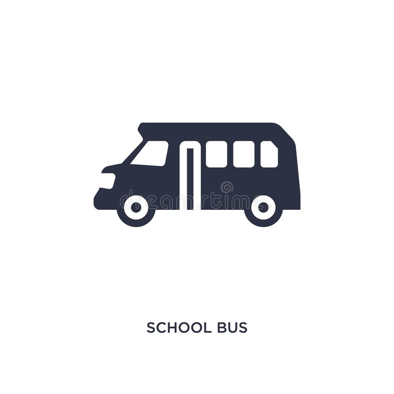 Skolbusssymbol på vit bakgrund Enkel beståndsdelillustration från utbildningsbegrepp royaltyfri illustrationer