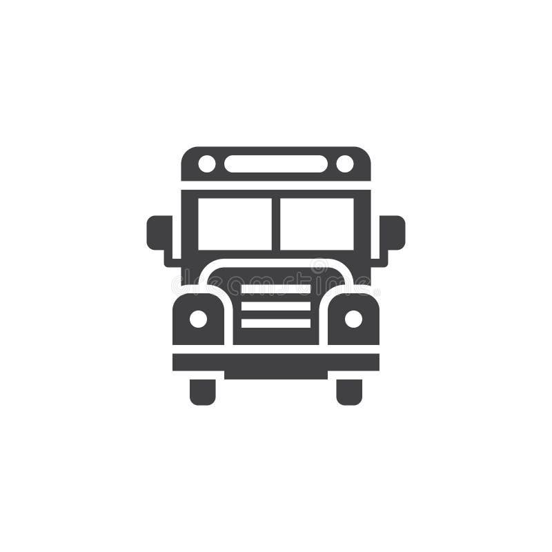 Skolbusssymbolsvektor, fast logo, pictogram som isoleras på vit, royaltyfri illustrationer