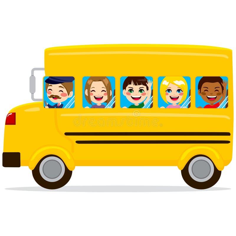 Skolbussungar vektor illustrationer