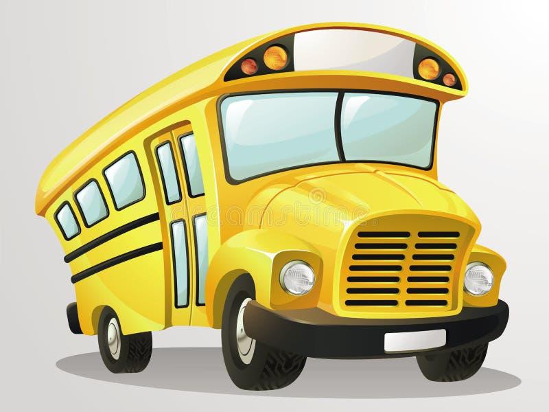 Skolbussvektortecknad film stock illustrationer