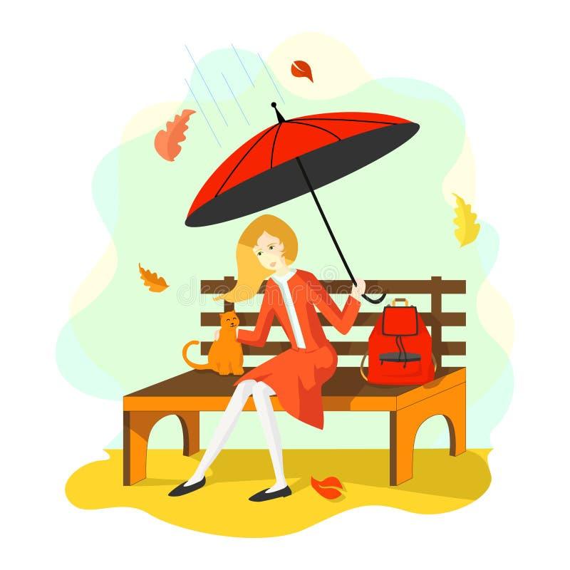 Skolflicka i skolalikformign som sitter på en bänk med ett paraply som slår en katt Närliggande är en skolaryggsäck royaltyfri illustrationer