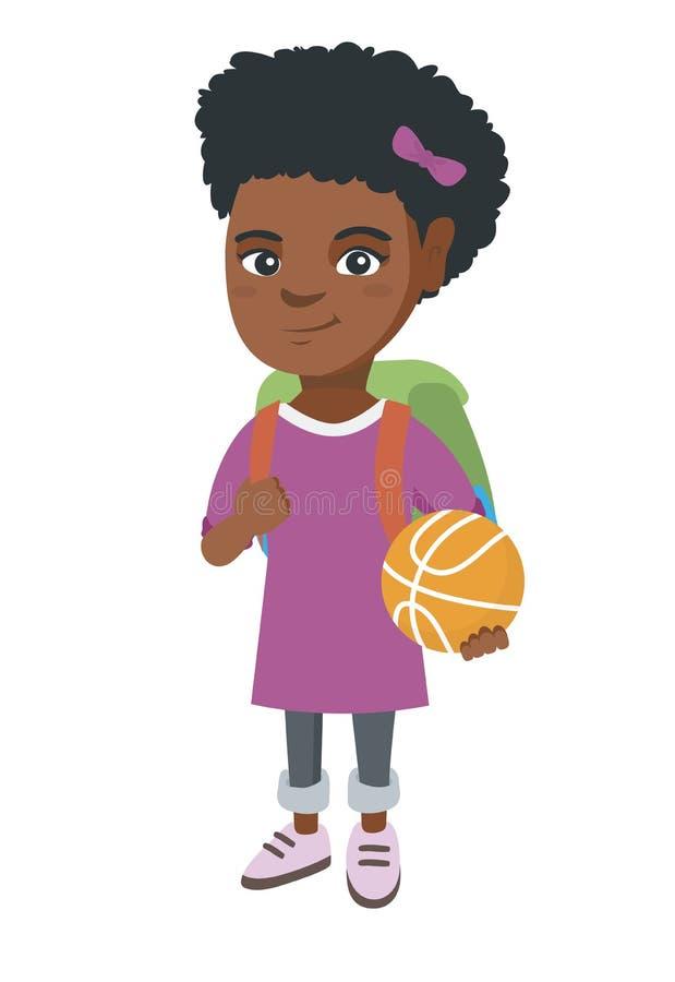 Skolflicka med ryggsäcken som rymmer en basket royaltyfri illustrationer