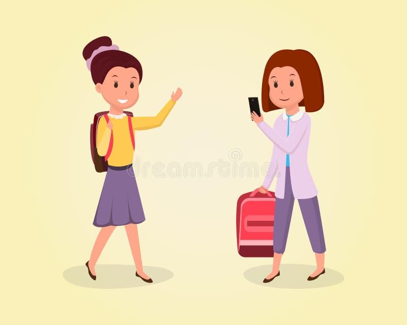 Skolflicka som går att skola den plana illustrationen Skolbarn med den vinkande handen för ryggsäck, elevinnehavryggsäcken och an vektor illustrationer