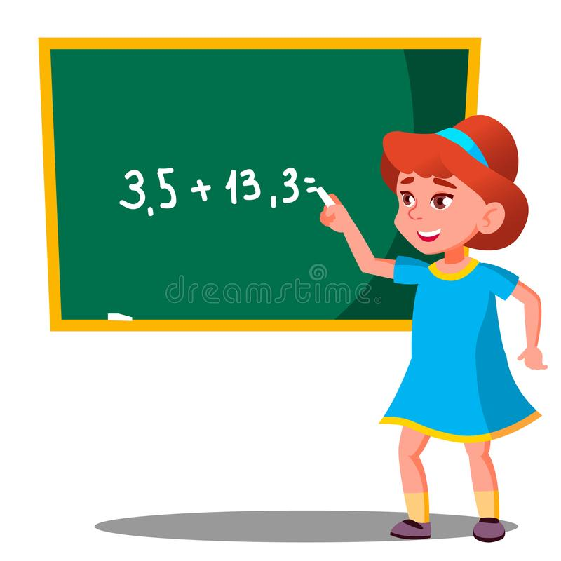 Skolflickan löser ett matematiskt problem på svart tavlavektorn isolerad knapphandillustration skjuta s-startkvinnan royaltyfri illustrationer