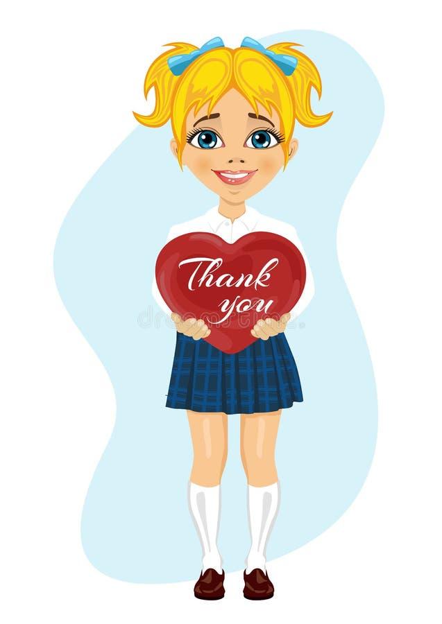 Skolflickan som rymmer röd hjärta med, tackar dig textmeddelandet stock illustrationer