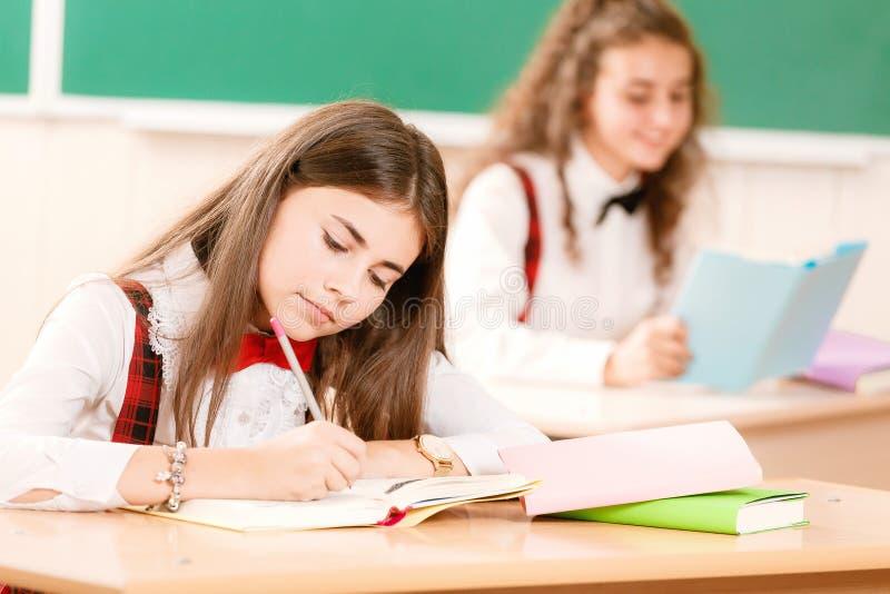 Skolflickor i skolalikformig sitter för par i klassrumet Flickor går till skolan royaltyfri foto