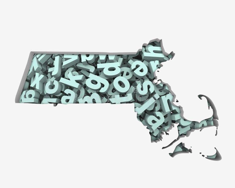 Skolor 3 för handstil för utbildning för översikt för Massachusetts MORbokstäver läs- vektor illustrationer