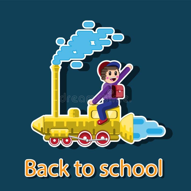 Skolpojke med en ryggsäck som sitter på drevet som flyger till skola Klistermärkeillustrationdekor bl? vektor f?r sky f?r oklarhe stock illustrationer