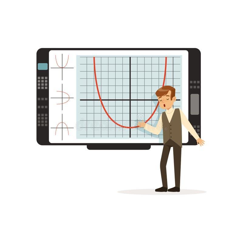Skolpojke som arbetar med en växelverkande whiteboard på kursen på skolavektorillustrationen på en vit bakgrund stock illustrationer