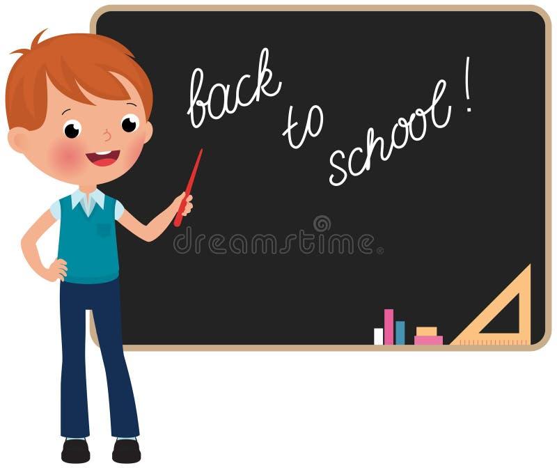 Skolpojkeanseende på svart tavla stock illustrationer