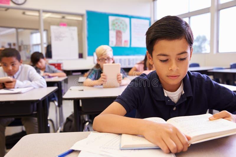 Skolpojkeläsning på hans skrivbord i en grundskolagrupp arkivfoton
