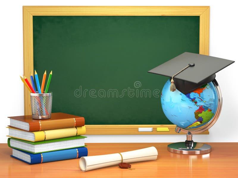 Skolutbildningbegrepp Mortelbräde, svart tavla, böcker, jordklot royaltyfri illustrationer