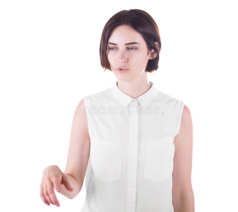 Skoncentrowana młoda biznesowa kobieta mówi opowieść, odizolowywającą na białym tle obraz royalty free