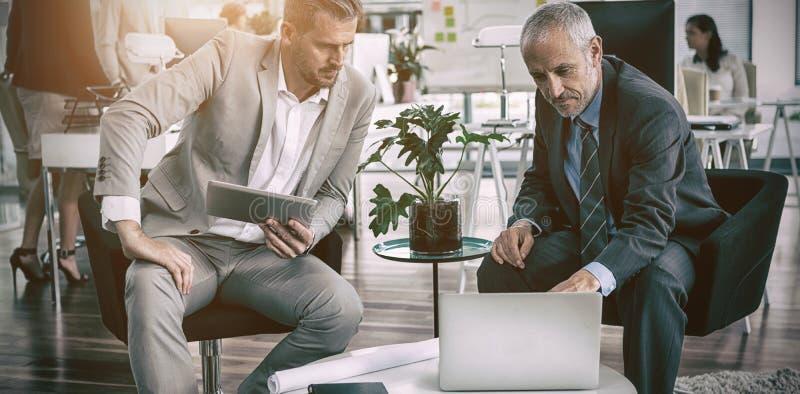 Skoncentrowani biznesmeni patrzeje w laptop fotografia royalty free