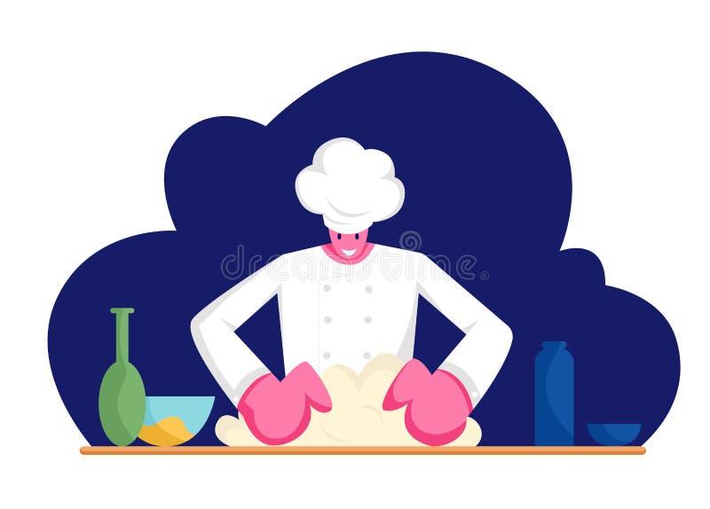 Skoncentrowany mężczyzny szef kuchni Ugniata ciasto na kuchni w mundurze Fachowy Piekarniany narządzanie chleb, pizza lub makaron ilustracji