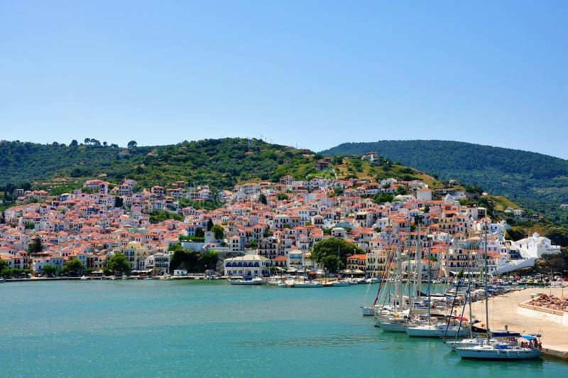 Skopelos island, Greece – June 25, 2016: View of Skopelos from sea. Skopelos island, Sporades, Greece – June 25, 2016: View of Skopelos from sea royalty free stock photography