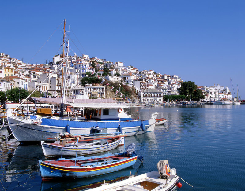 Download Skopelos Port stock image. Image of religion, hill, fishing - 5179451
