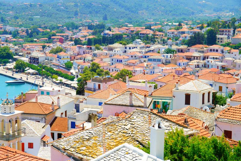 Skopelos-Stadt, Griechenland lizenzfreie stockbilder
