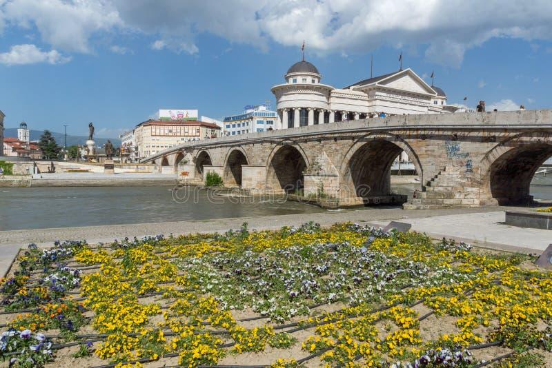 Skopje centrum och arkeologisk gammal stenbro för museum och, republik av Macedo royaltyfri foto
